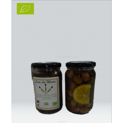Organic Olive Green Pitted Aromatic Herbs With Olive Oil Lemon Flavor
